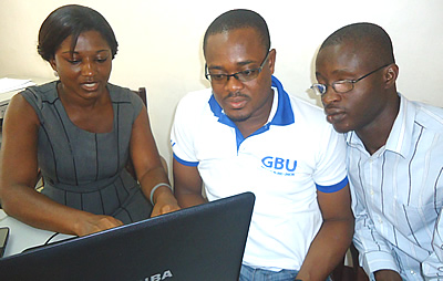 Staff of Ghana Blind Union undertaking group activity at the Website Management and updating training organised by iblend media in Accra